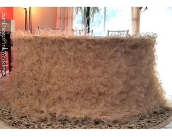 Champagne Ruffled Dress Tablecloth, Champagne Ruffle Tablecloth, Romantic Wedding Tablecloth,