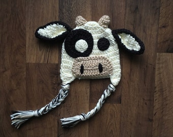 Crochet Cow Animal Hat | Animal Hat for Baby, Kids, Adults | Crochet Cow Costume | Halloween Costume | Crochet Cow | Made To Order