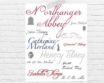 Jane Austen Northanger Abbey Character Print   Digital Download