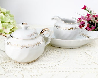 """Vintage Lefton China """"Golden Laurel"""" Creamer Sugar Set:  Tea Party Set, White Creamer Sugar Set, Relish Dish."""