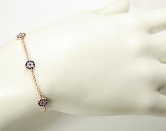 Evil eye Bracelet Three Eyes 925 Rose Gold Sterling Silver Chain Link Fashion Jewelry
