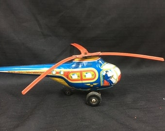 Vintage J. Chein & Co. Wind Up Toy Town Airways Helicopter