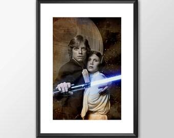 Luke Skywalker & Princess Leia  - Star wars inspired Print - BUY 2 Get 1 FREE