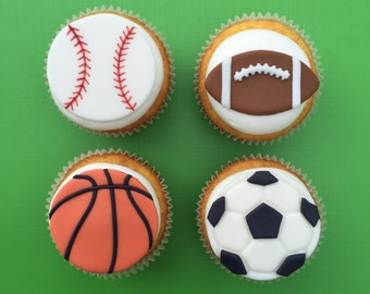 12 Sports Cupcake Toppers-Fondant