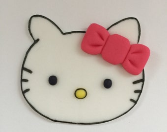 12 Hello Kitty Cupcake Toppers-Fondant