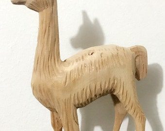 Carved Wood Llama from Peru
