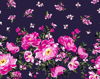 QUILTING COTTON Cabbage Rose Border Print in Sapphire. Sold by the 1/2 yard