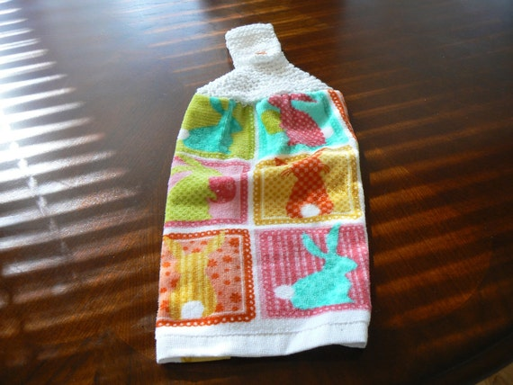 Multi-Colored Hanging Easter Bunny Kitchen Towel With Hand Knit Topper and Button Closure