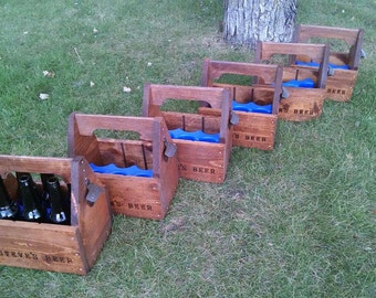 Groomsmen Gift Set of 6 Personalized Rustic Beer Carriers, Beer caddy with opener and freezable insert