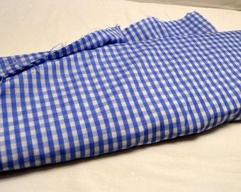 "Silky Medium Blue & White 1/4"" Check  Polyester 44""W Easter Spring Dress Blouse Craft VTG Fabric SBTY"