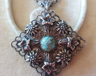 Arts & Crafts Style Flower Pendant/Chain