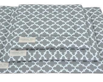 Grey Lattice Pet Pad | Crate Mat | Crate Pad | Water Resistant Bottom | Portable Puppy / Dog Mats | Unique Mats | Small/Medium/Large/XL