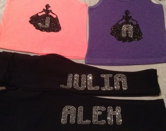 Princess Initial Tank with Rhinestone Name Leggings