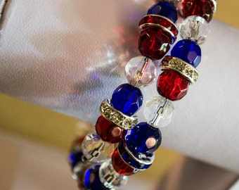 Patriotic USA Red, White and Blue beaded memory coil bracelet
