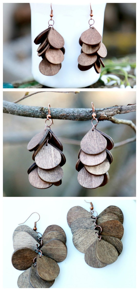 brown rustic earrings wooden jewelry by lovelyblackpanther