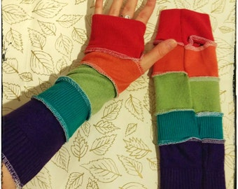 Upcycled Armwarmers made from Recycled Jumpers Bohemian Hippie Gypsy Circus Festival Eco Friendly Fingerless Gloves
