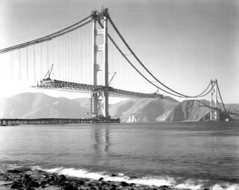 Golden Gate Bridge San Francisco vintage photo construction antique photograph 1930s PRINT poster