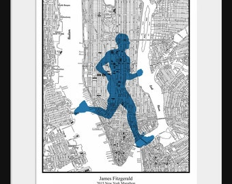 New York Marathon Custom Map -  Personalized Gift - Marathon Custom Print - City Map - Gift Print - New York