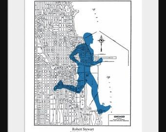 Chicago Marathon Custom Map -  Personalized Gift - Marathon Custom Print - City Map - Gift Print - Chicago