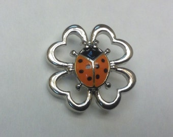 NEW! LADYBUG SNAP in Silver Hearts...Fits 18-20mm snap jewelry...