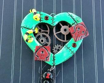 Oogie Boogie-Clockwork Heart - Steampunk Jewelry - Statement Necklace