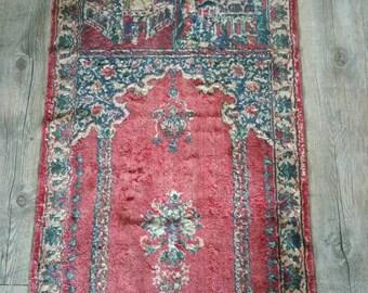 Stunning velvet praying rug vintage!Beautfiul pattern showing Mecca  used by Moslems