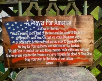 A Prayer For Our Nation Over Waving American Flag, Heavy, Wooden Sign