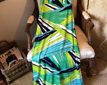 Horrockses op art long sheath dress. 60's vintage. 36x31x42x58 length