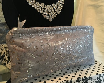 NEW SILVER Metallic Eveing Clutch Purse, Special Occasion Handbags, Sequin Purse, Silver Clutch