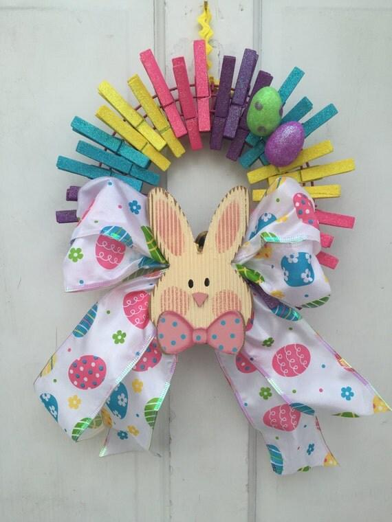 Easter Bunny Wreath Clothespin Wreath