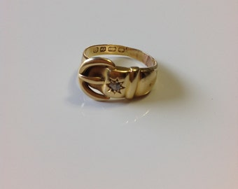 Victorian 1864 18k Gold Diamond Buckle Ring