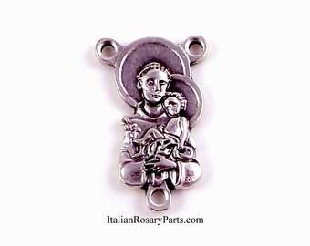 Saint Anthony with Baby Jesus Rosary Center Medal   Italian Rosary Parts