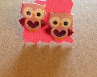 Valentine's Day Owls Stud Earrings - Post Earrings