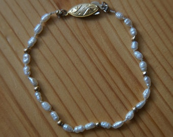 White and Gold Baroque Pearl Bracelet