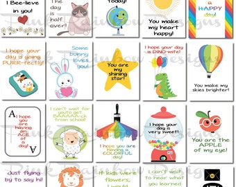 20 Lunch Box Notes Cards with Motivational Messages for Kids Children Kindergarten | back to school | Cute | Love Notes