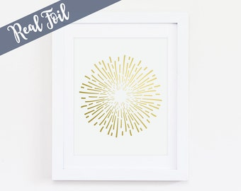 Abstract Art, Firework, Gold Foil Print, Real Gold Foil, Gold Art, Wall Art, Home Decor, Office Decor