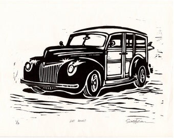 Surf Woody Wagon | surf art | beach art | classic car |  | Linocut Print | Signed by Artist
