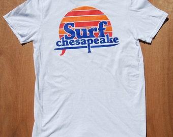 Surfer Sunset  Surf Shirt   Surfer Shirt  Surf Sunset Shirt   Retro Surf Shirt   Chesapeake   Surf Sun   White