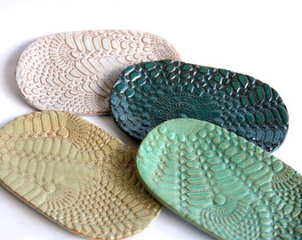 Ceramic Soap Dish, lace imprint, handmade pottery, custom pottery, home decor, bathroom decor, home accents, soap dish ceramic