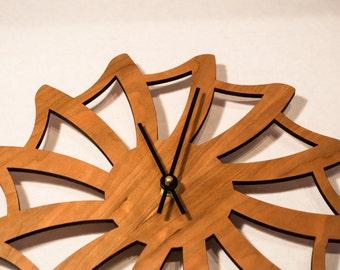 Geometric Decorative Wall Clock / Laser Cut Cherry Clock