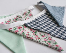 Floral fabric bunting, shabby chic patterns, vintage, 3m, checked, spots and floral pattern, blue, mint, pink and navy colours