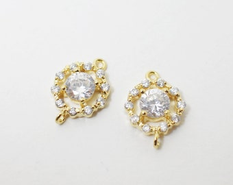 P0403/Anti-tarnished Gold Plating Over Brass/Cubic Zirconia Circle Connector/8.5x12.5mm/2pcs