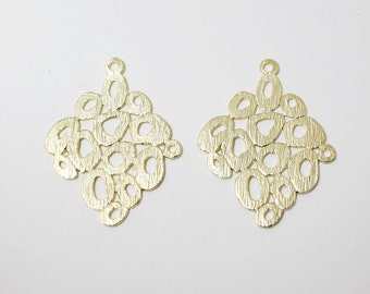 P0474/anti-Tarnished Matte Gold Plating Over Brass/Pebble Rhombus Pendant/30x23mm/2pcs