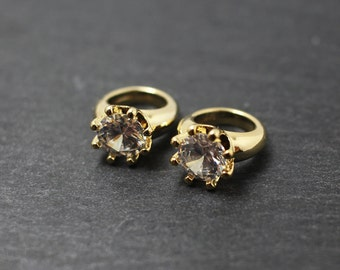 P0189/Anti-Tarnished Gold Plating Over Brass+Cubic zirconia/Ring Pendant Connector/10x13mm/2pcs