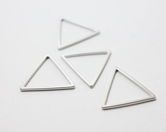 P0195/Anti-Tarnished Rhodium Plating Over Brass/Triangle Connector/20x20mm/4pcs