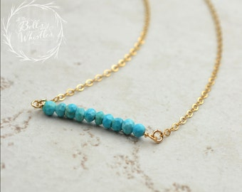 Turquoise Bar Necklace, Beaded Bar Necklace, Turquoise beaded bar, Delicate Necklace, Sterling Silver, Gold Filled, Rose Gold