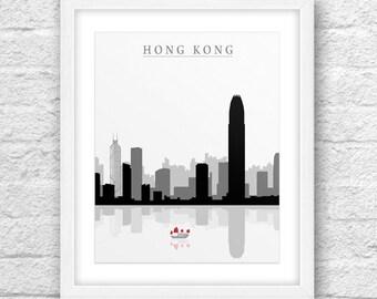 Hong Kong Art, Hong Kong Skyline, Cities Black 'n White, Hong Kong Minimal, Hong Kong Wall Art, Minimal Design, Minimalist, Instant Download