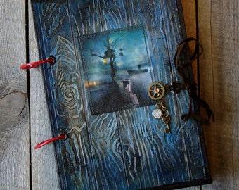 2-ring binder notebook,A5 notebook,Handmade notebook,Mixed-media notebook