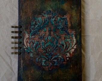 """A5 spiral notebook """"Damask"""",handmade notebook,spiral notebook"""