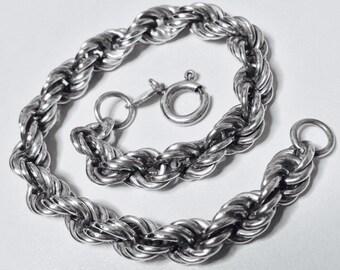 Vintage 925 Sterling Silver chain link bracelet 7 inch